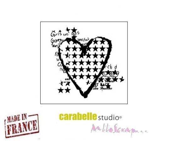 """Mini tampon """"Mon coeur étoilé"""" Carabelle Studio fabriqué en France embellissement scrapbooking (réf.210)* de la boutique MademoiselleScrap sur Etsy"""