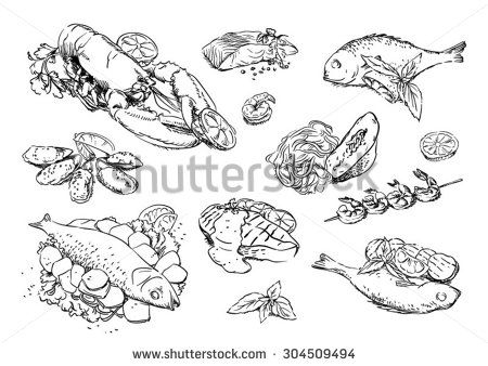 Sketches of food: seafood - stock vector
