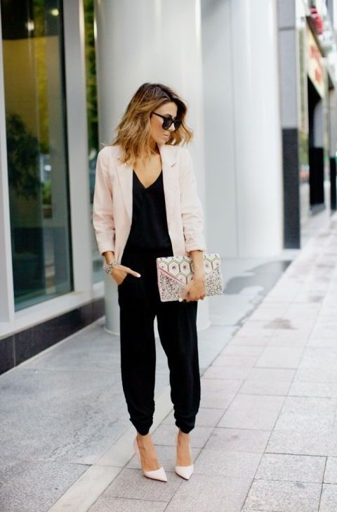 Black jumpsuit+nude pumps+nude blazer+printed envelope clutch+sunglasses. Summer Dressy Casual Outfit 2017