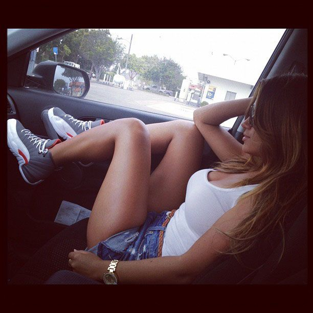 Jessica Burciaga wearing Air Jordan XII 12 Cool Grey