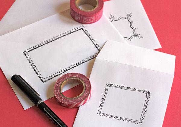 Doodle frames on envelopes.  (What a cute idea!)