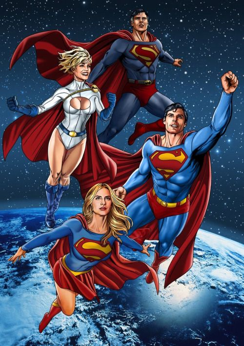 Artfully Kal (The Art Of Superman And DC Comics) A couple of smiling super heroes with their friends