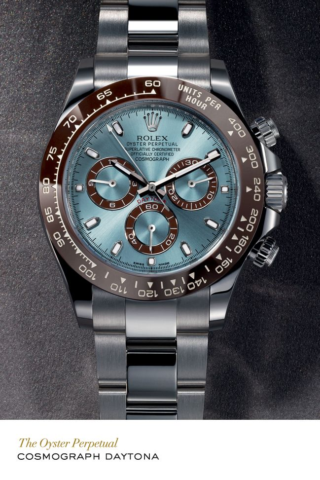 Rolex Cosmograph Daytona in platinum with a chestnut brown monobloc  Cerachrom bezel in ceramic, an ice blue dial and Oyster bracelet. #RolexOfficial