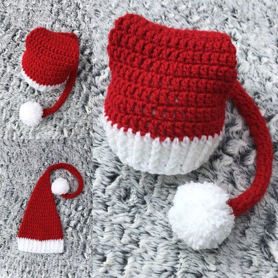 Baby Long Tail Hat Crochet Christmas Newborn Prop Knitted Photography Elf