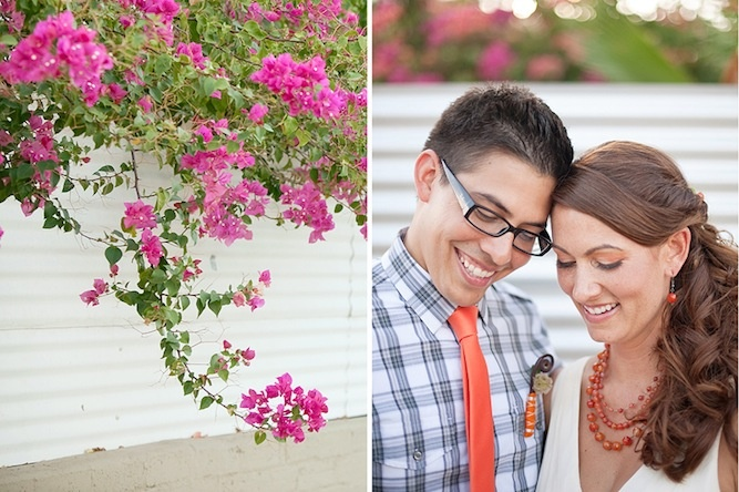 how sweet are this couple - love the groom's check shirt & orange tie combo and the bride's orange, statement necklace!Shirts Ties, Statement Necklaces, Orange Ties, Check Shirts, Spring Wedding, Ties Combos, Grooms Check, The Brides, Brides Orange