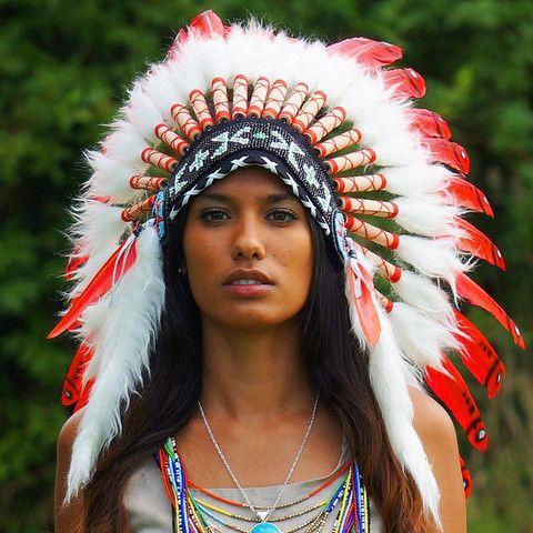 Red Indian Chief Headdress - 65cm – Indian Headdress - Novum Crafts
