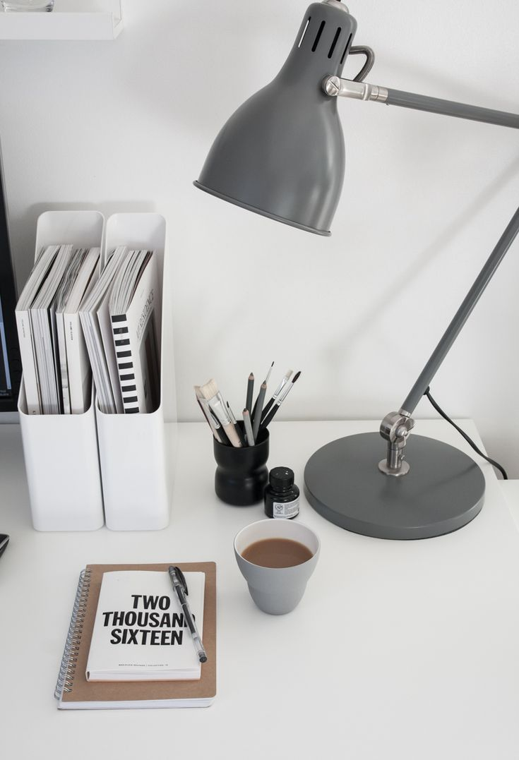 Workspace details, IKEA Aröd table lamp, Marjolein Delhaas planner