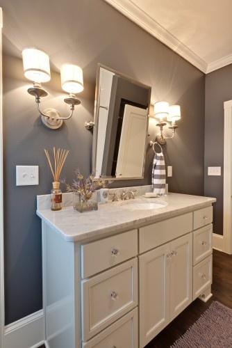 Gray paint: Bathroom Color, Bathroom Vanities, Wall Color, Bathroom Ideas, Traditional Bathroom, Blake Shaw, Paintings Color, Gray Paintings, Gray Wall