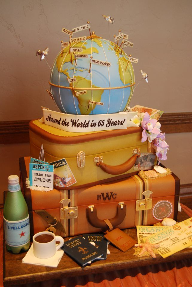 "Fun anniversary, wedding, adventure themed cake including a globe, passports, luggage, etc. - HD  ""Travelling the world---this is amazing! <3"" OP"