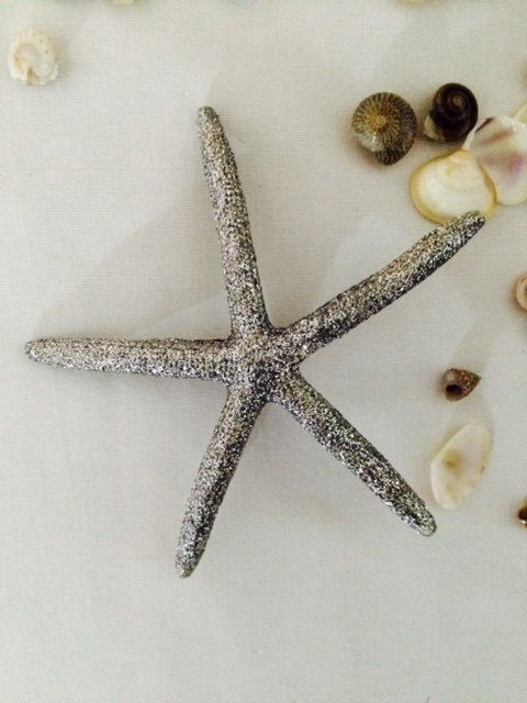 Sparkly silver finger starfish hair clip