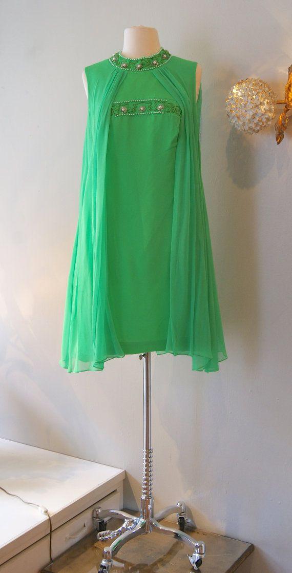 60s Dress // Vintage 1960s Mod Emerald Jewel Dress