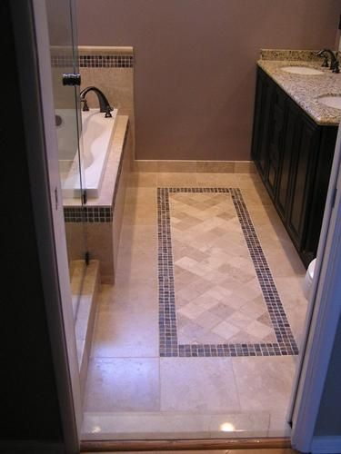 Tile Bathroom Floor with Inlay Herringbone Design
