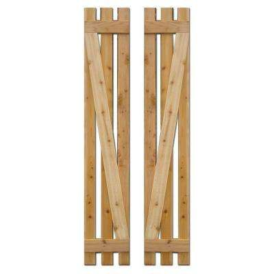 12 in. x 60 in. Baton Spaced Z Board and Batten Shutters (Natural Cedar) Pair