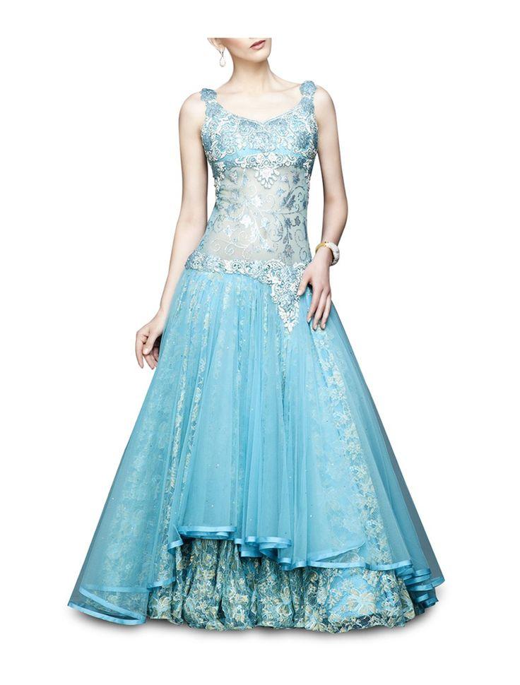 corset style aqua blue gown