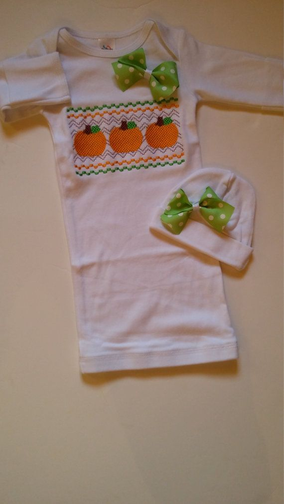 Newborn baby girl coming home set, infant layette gown, pumpkins thanksgiving fall newborn clothes, monogrammed baby clothes baby girl hat