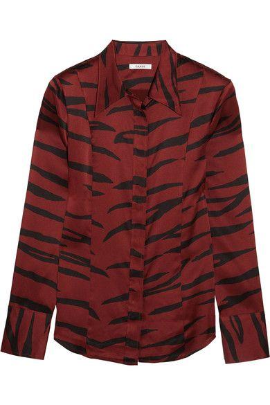 GANNI Iona printed stretch-silk satin shirt. #ganni #cloth #tops