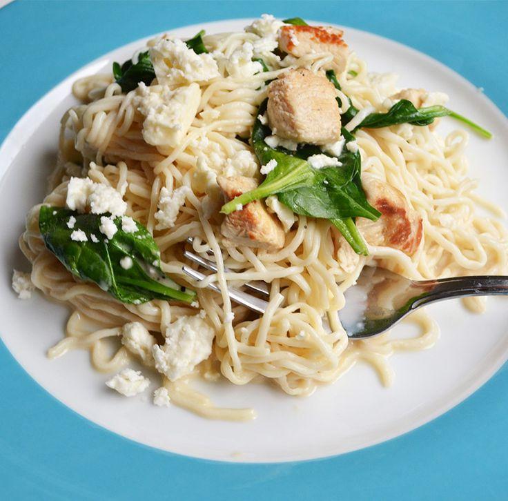 Chicken, spinach and feta spaghetti