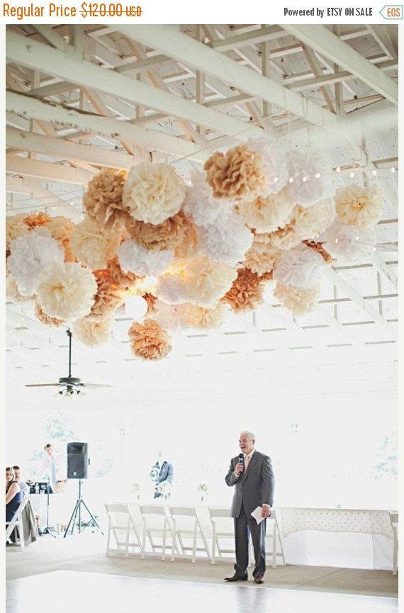 ON SALE wedding decor, rustic wedding decorations, tissue paper poms, shabby chic neutrals, custom colors, reception party dancefloor tent m