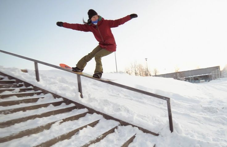 Rail session with Enni Rukajärvi in downtown Kuopio, Finland. Snowboarding, Red Bull, 2013.