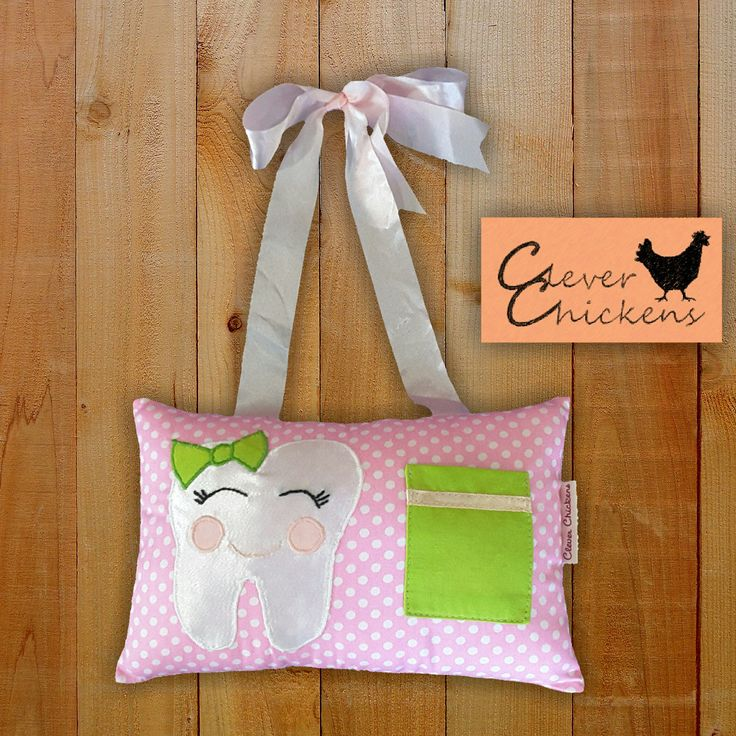 Tooth Fairy Pillow Girl Pink Green Applique by CleverChickens on Etsy