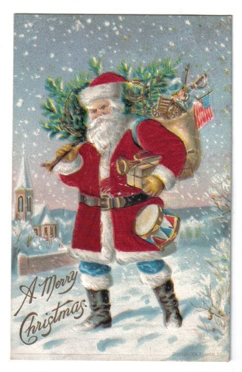 Santa Claus in Red Silk Robe w/ Toys & Tree~Blue Pants~Christmas~1907+ #Christmas