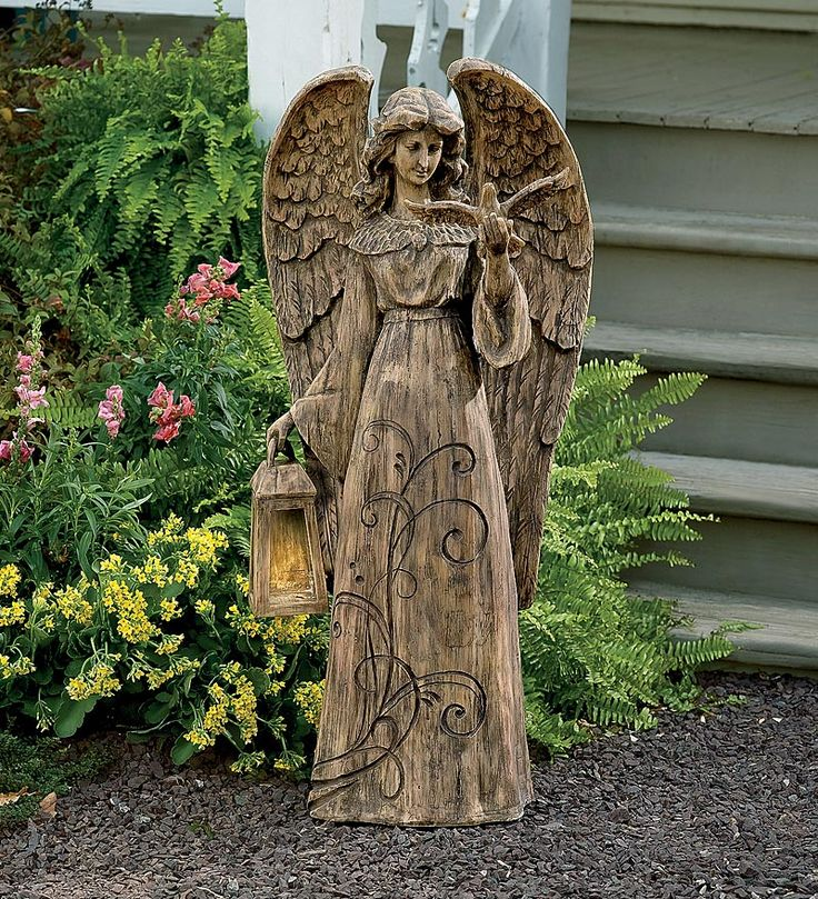 Resin Garden Angel With Solar Lighted Lantern Is Peaceful