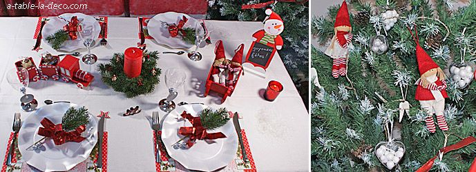 Décoration table de Noël traditionnelle - http://www.a-table-la-deco.com/les-fetes-du-moment/noel-rouge-et-vert.html