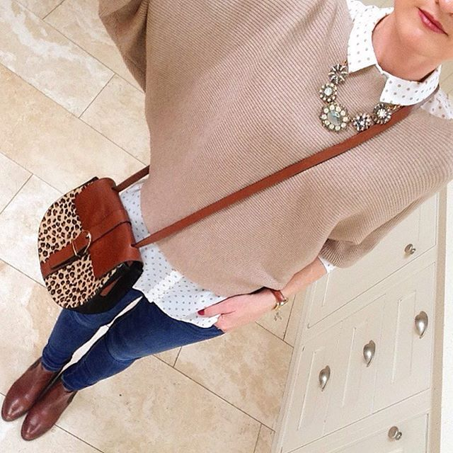 #upcycling some of #lastyear's #favourites with this #spotty #blouse from #primark #penneys and my #newboots from #tkmaxx #bag #massimodutti #jeans and #jumper #zara #necklace #carraigdonn