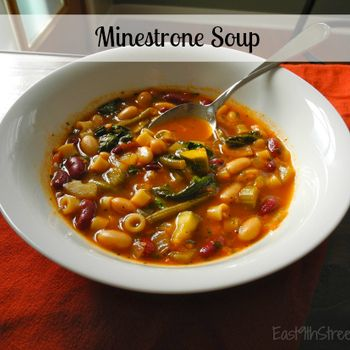 Hearty minestrone soup with Progresso Recipe Starter Fire Roasted Tomato.
