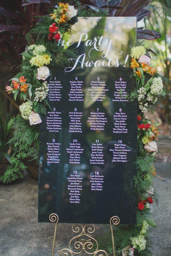 garden wedding seating chart, photo from By the Robinsons http://ruffledblog.com/sunken-gardens-florida-wedding #weddingideas #seatingcharts #weddingsigns