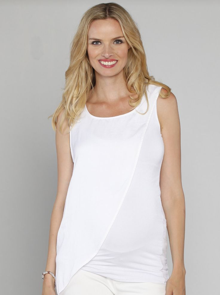 We guarantee our Slimming Draped Top in White, $49.95, down to just $19.95, will be your go-to top for every big event!