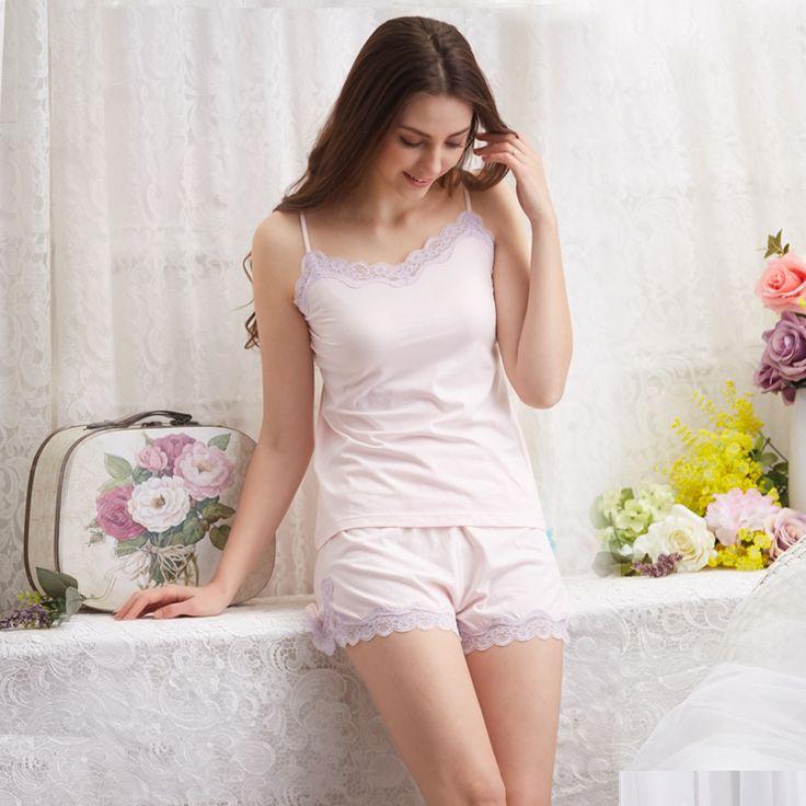 2016 New Pajamas Women Cotton Pajama Set Sleeveless Lace Solid Color Shorts Pajamas Set Girl Vests Pyjamas