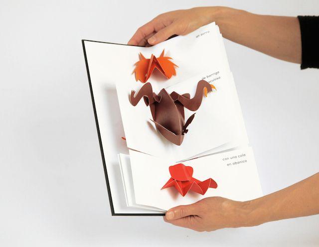 Iris de Vericourt, une artiste parisienne, a conçu le livre pop-up « Bestiario », édité en 2011 par la maison italienne Corraini. Bestiario Pop Up Book – Fubiz™