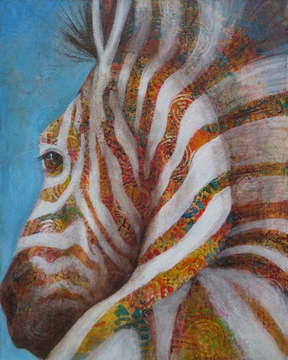 Zebra. Acrylic 40cm x 50cm. Shirley Dougan