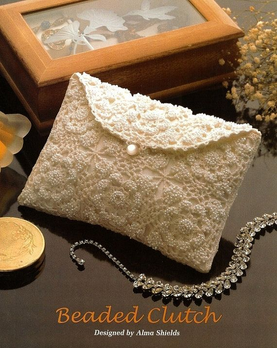 X798 Crochet PATTERN ONLY Elegant Beaded Clutch Hand Bag Purse