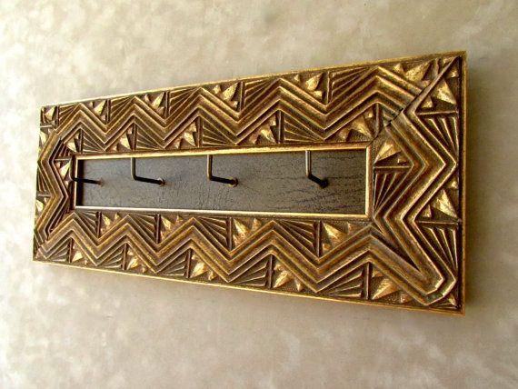 #Ornate #Gold #Keyholder #ZigZag #Frame #GoldFramed by #CiracoFramers #Etsy #Woodkeyholder #woodkeyhook #rustic #distressed #aged #homedecor #gold
