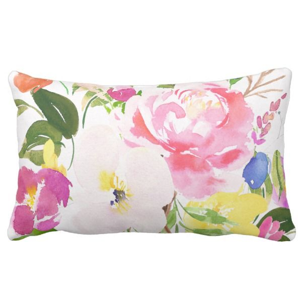 Colorful Watercolor Spring Blooms Floral Lumbar Pillow Zazzle Com Whimsical Pillows Pillows Spring Blooms