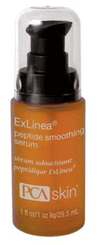 PCA SKIN ExLinea Peptide Smoothing Serum, a wrinkle-diminishing serum, provides intense hydration with hyaluronic acid and plant polysaccharides to enhance suppleness, elasticity and radiance.