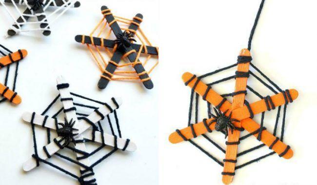 basteln-kindergartenkindern-herbst-anleitung-halloween-deko-spinne-netz-eisstiele