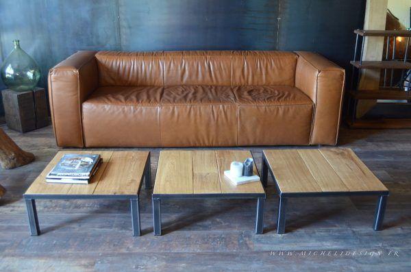 3 petites tables basses carrées en métal et bois sur mesure
