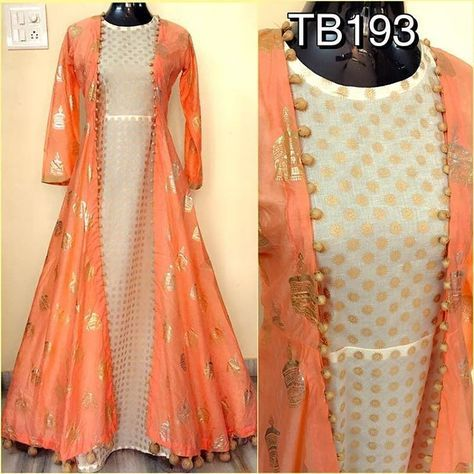 "1,829 Likes, 11 Comments - @shop_more_trends1 on Instagram: ""TB193 Soft silk foil work jacket and chanderi inner with fancy latkans Size : 40+2 Length : 58 Rs…"""