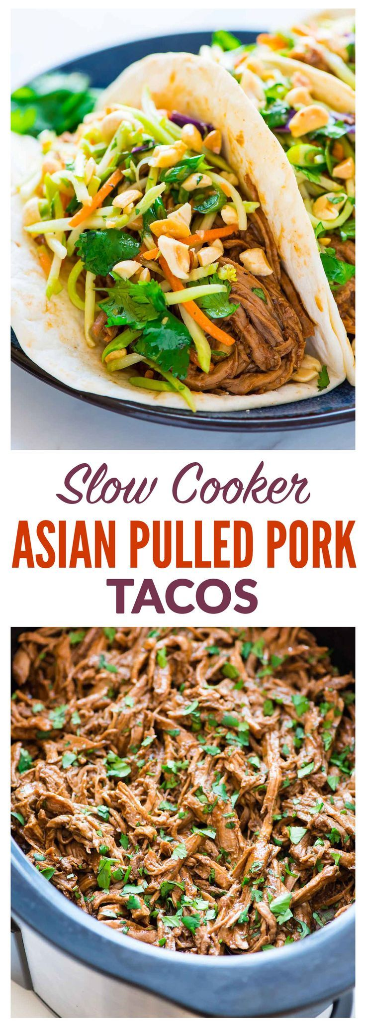 Melt-in-your-mouth Slow Cooker Pulled Pork with hoisin, ginger, and garlic, topped with crunchy peanut broccoli slaw. Made with pork tenderloin for a healthier cut than pork shoulder! EASY Asian pulled pork recipe that's perfect for a crowd. The crockpot does the work! Recipe at wellplated.com | @wellplated