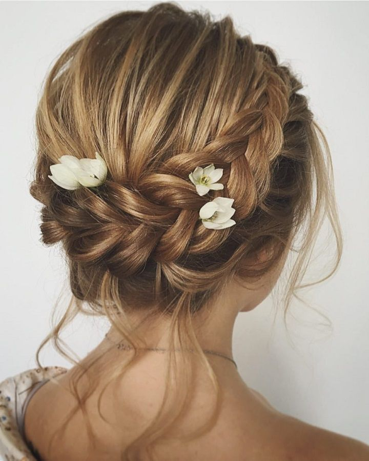 Unique updo with braid wedding hair inspiration ||