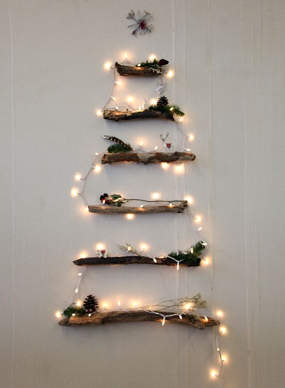 This DIY/alternative Christmas tree couldn't be more beautiful. For small, NYC apartment-sized space.