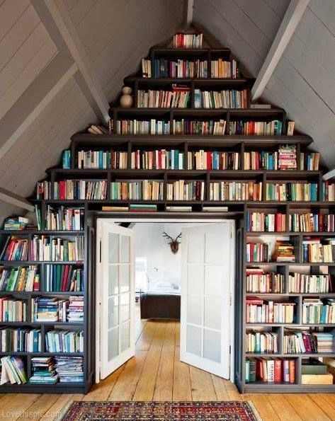 Bookshelves for the Attic Alcove books home inspiration decorate ideas library alcove bookshelf attic