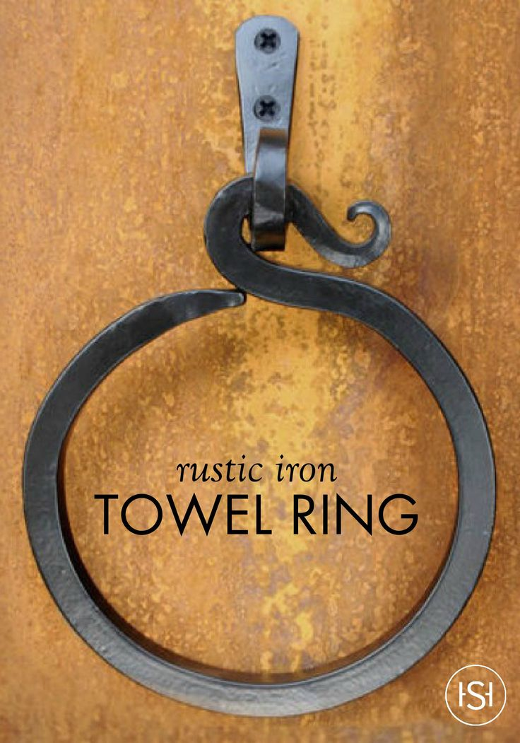 This hook design iron towel ring is perfect for a rustic, cabin-style bathroom. It's an easy update to your home's hardware that can be done over the weekend.