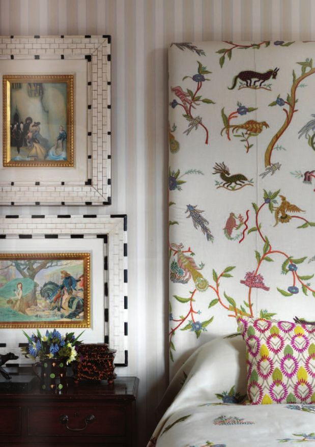 Kit Kemp for Chelsea Textiles, wonderful embroideries, beautiful frames against gray stripes