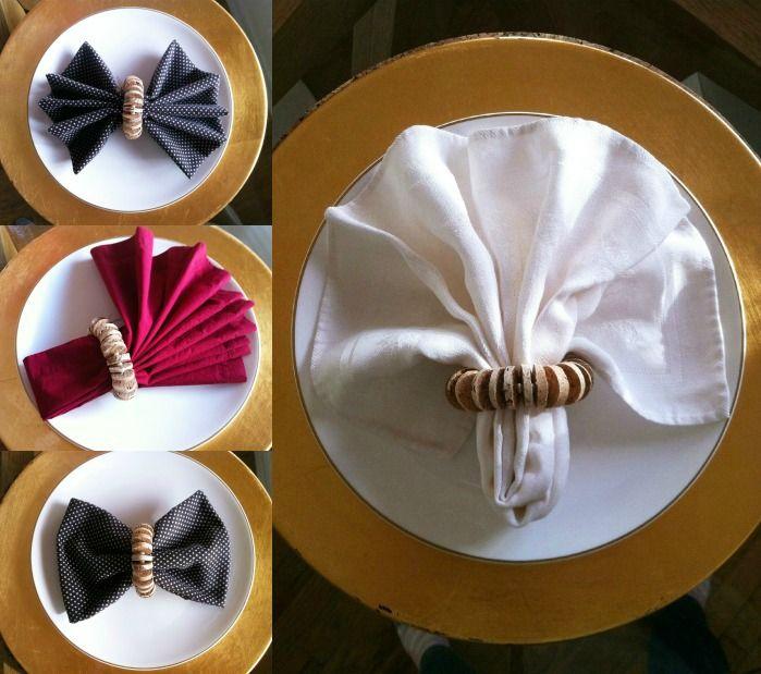 Napkin fold ideas with recycled wine cork napkin ring