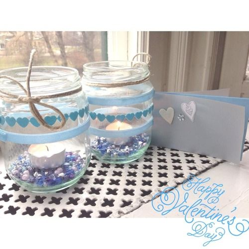 Happy Valentines Day! No need to use red and pink, why not surprise your special someone with these blue candle holders?