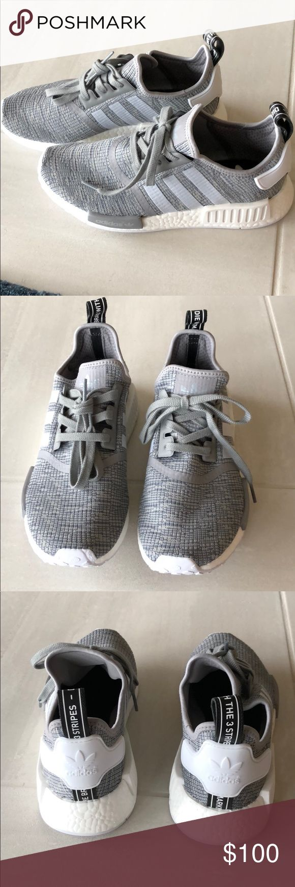 Adidas Boost Shoes Gray and white men's adidas shoes- never worn, bought and too big. Size 8.5 adidas Shoes Athletic Shoes